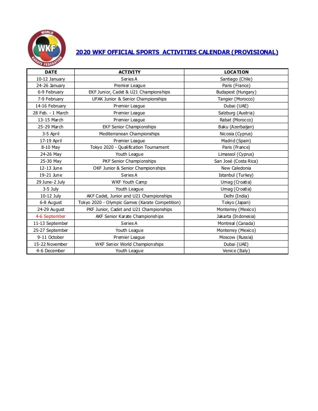 Calendrier 2020 Can.Wkf 2020 Sports Calendar Provisional