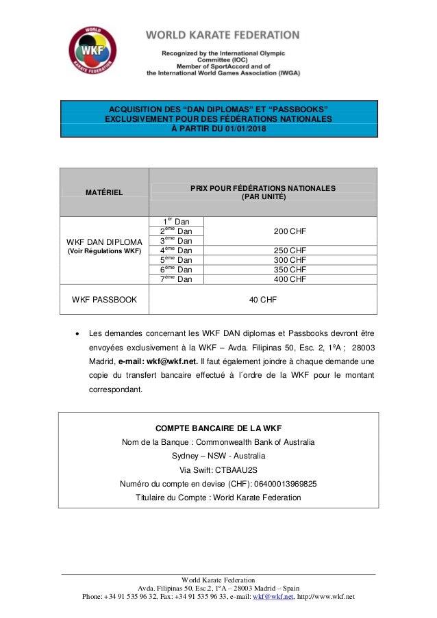 Wkf fees dan diplomas and passbooks  2018_eng fr sp Slide 2