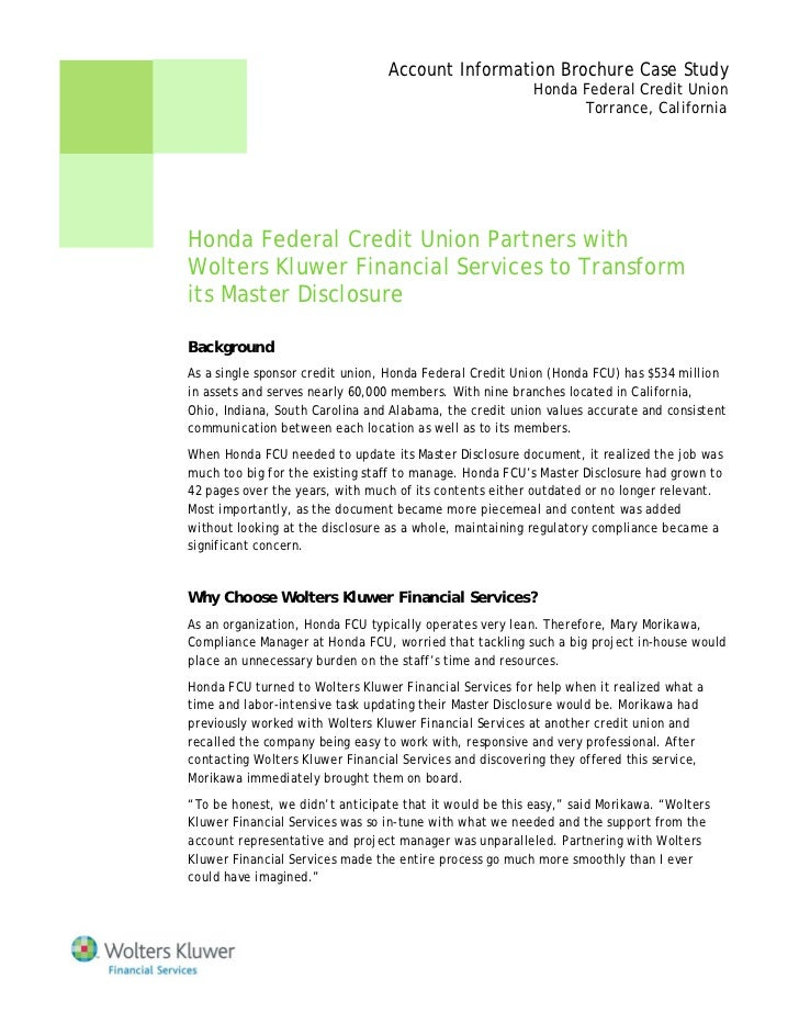 Honda Federal Credit Union Partners with Wolters Kluwer ...