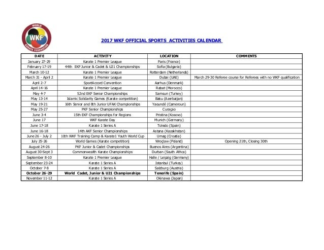 Calendario 1921.2017 Wkf Official Sports Activities Calendar