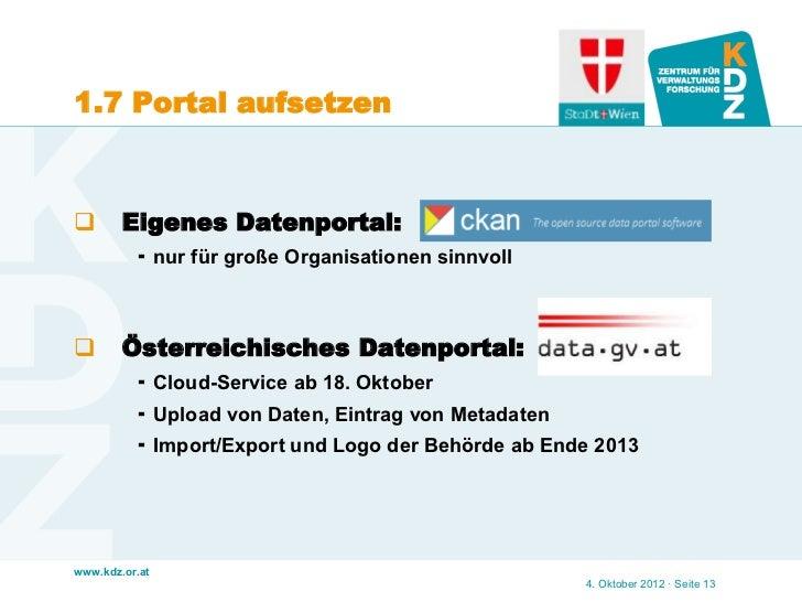 1.7 Portal aufsetzen       Eigenes Datenportal:           nur für große Organisationen sinnvoll       Österreichisches ...