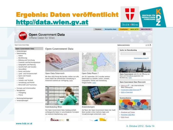 Ergebnis: Daten veröffentlichthttp://data.wien.gv.atwww.kdz.or.at                                 4. Oktober 2012 · Seite 14