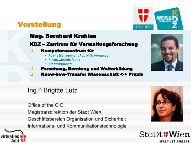 Vorstellung        Mag. Bernhard Krabina        KDZ – Zentrum für Verwaltungsforschung               Kompetenzzentrum für...