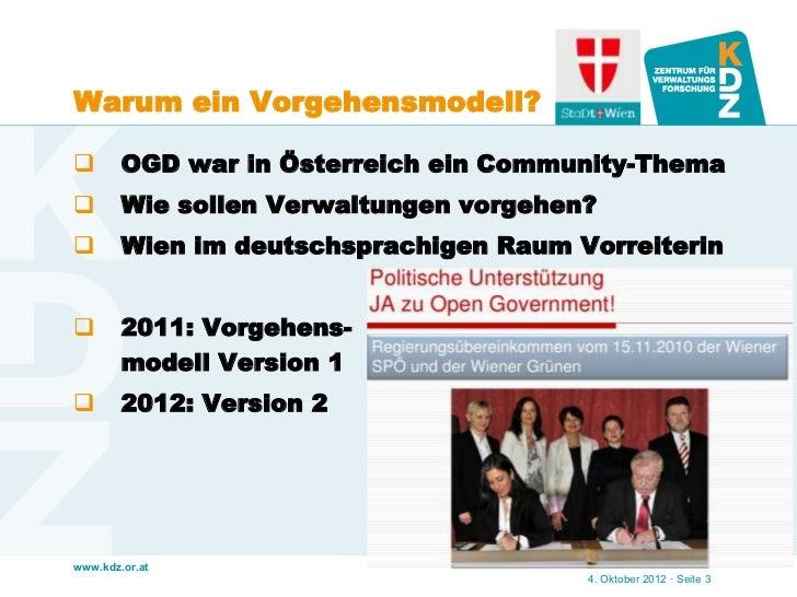 Warum ein Vorgehensmodell?       OGD war in Österreich ein Community-Thema       Wie sollen Verwaltungen vorgehen?     ...