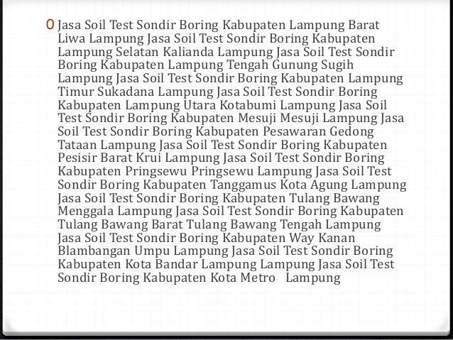 Soil Test Sondir Boring Palembang Sumatera Selatan