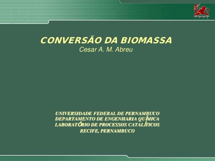 CONVERSÃO DA BIOMASSA          Cesar A. M. Abreu  UNIVERSIDADE FEDERAL DE PERNAMBUCO  DEPARTAMENTO DE ENGENHARIA QUÍMICA  ...