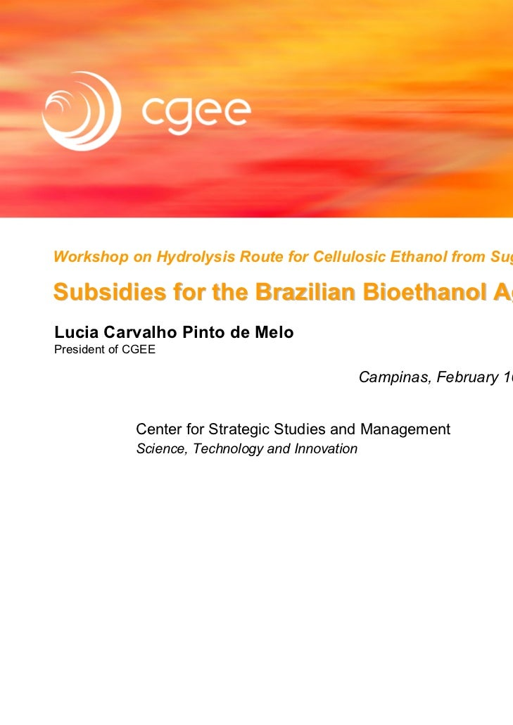 Workshop on Hydrolysis Route for Cellulosic Ethanol from SugarcaneSubsidies for the Brazilian Bioethanol AgendaLucia Carva...
