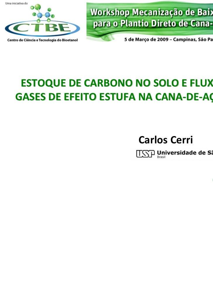 ESTOQUEDECARBONONOSOLOEFLUXODEGASESDEEFEITOESTUFANACANA‐DE‐AÇÚCAR                     CarlosCerri