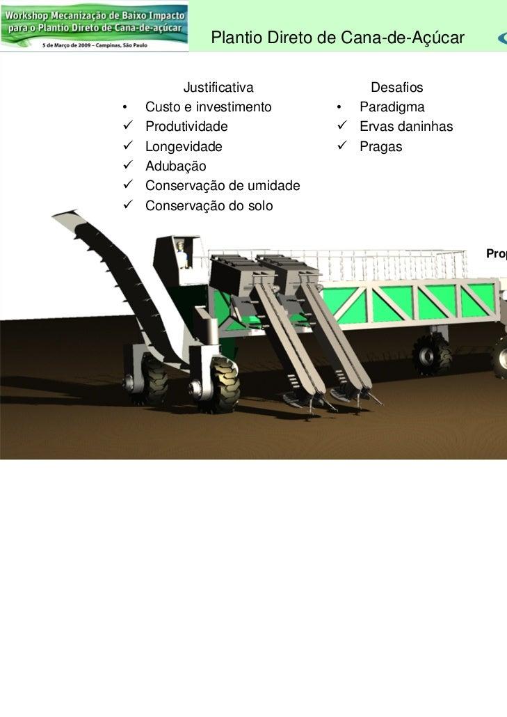 Plantio Direto de Cana-de-Açúcar                  Justificativa                 Desafios        •   Custo e investimento  ...