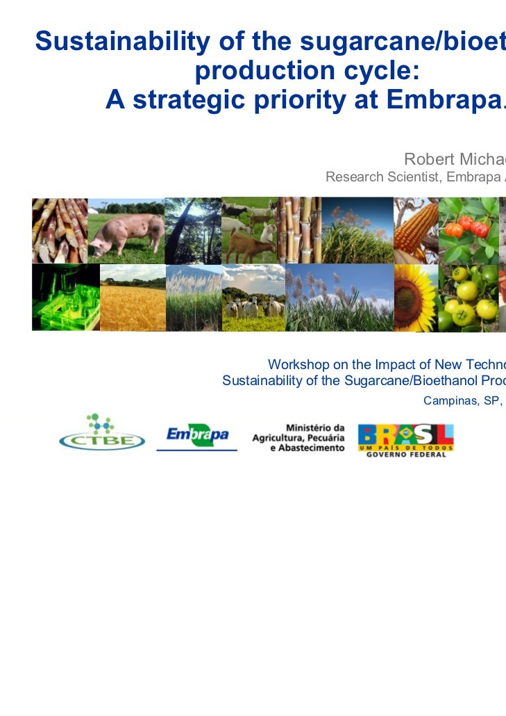 Sustainability of the sugarcane/bioethanol             production cycle:     A strategic priority at Embrapa.             ...