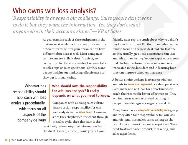 Win Loss Analysis - It Not Just for Sales Any more