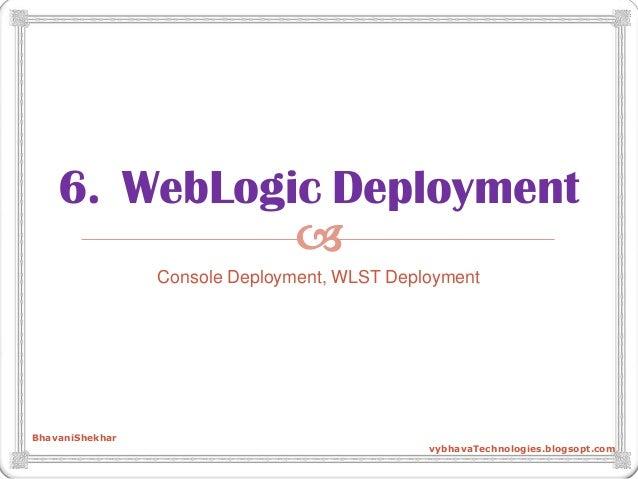  6. WebLogic Deployment Console Deployment, WLST Deployment BhavaniShekhar vybhavaTechnologies.blogsopt.com