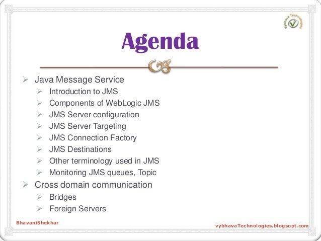  Java Message Service  Introduction to JMS  Components of WebLogic JMS  JMS Server configuration  JMS Server Targetin...