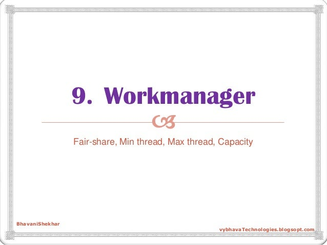  9. Workmanager Fair-share, Min thread, Max thread, Capacity BhavaniShekhar vybhavaTechnologies.blogsopt.com