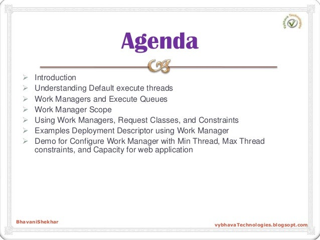  Introduction  Understanding Default execute threads  Work Managers and Execute Queues  Work Manager Scope  Using Wor...