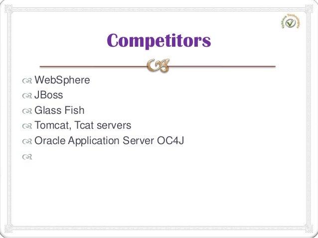 WebSphere  JBoss  Glass Fish  Tomcat, Tcat servers  Oracle Application Server OC4J  Competitors