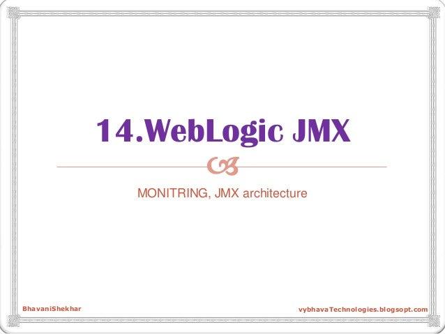  14.WebLogic JMX MONITRING, JMX architecture BhavaniShekhar vybhavaTechnologies.blogsopt.com
