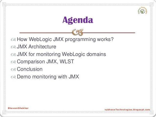  How WebLogic JMX programming works?  JMX Architecture  JMX for monitoring WebLogic domains  Comparison JMX, WLST  Co...