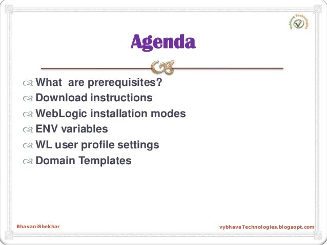  What are prerequisites?  Download instructions  WebLogic installation modes  ENV variables  WL user profile settings...