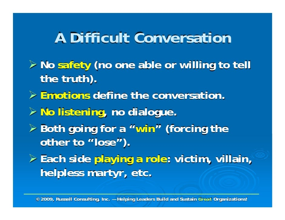 difficult conversations essay Read this full essay on difficult conversation 14036519managing a difficult  conversation within an organization there are various issues that it is associat.