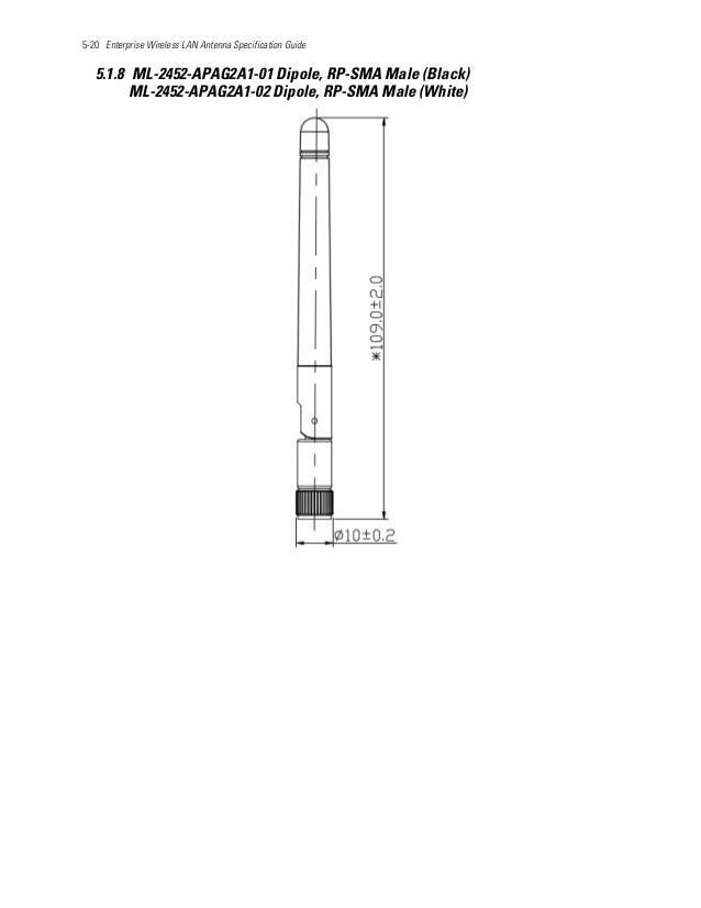 5-20 Enterprise Wireless LAN Antenna Specification Guide 5.1.8 ML-2452-APAG2A1-01 Dipole, RP-SMA Male (Black) ML-2452-APAG...