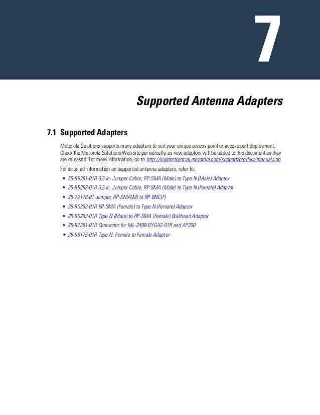 Supported Antenna Adapters 7.1 Supported Adapters Motorola Solutions supports many adapters to suit your unique access poi...