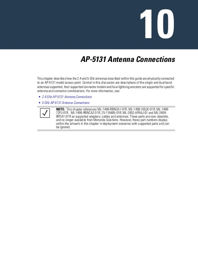 AP-5131 Antenna Connections This chapter describes how the 2.4 and 5 GHz antennas described within this guide are physical...
