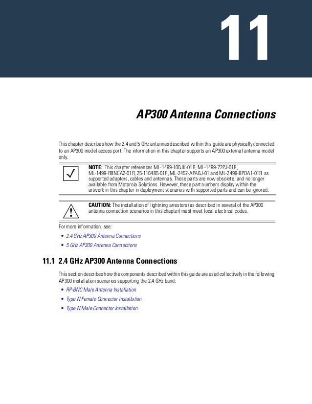 AP300 Antenna Connections This chapter describes how the 2.4 and 5 GHz antennas described within this guide are physically...