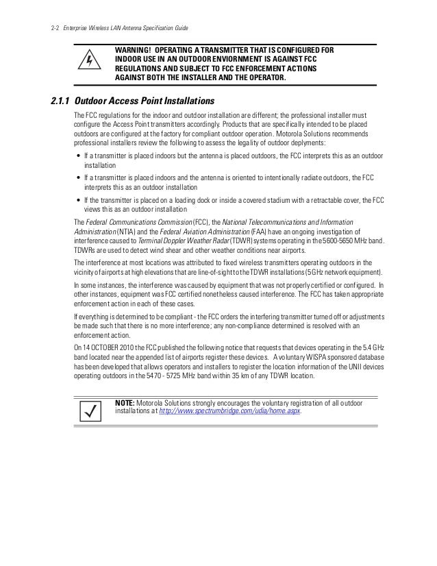 2-2 Enterprise Wireless LAN Antenna Specification Guide 2.1.1 Outdoor Access Point Installations The FCC regulations for t...