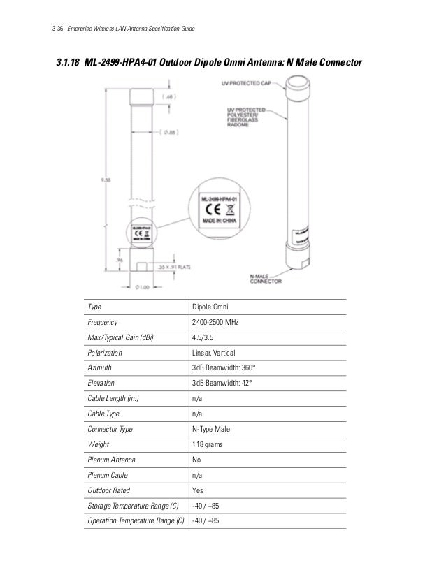 3-36 Enterprise Wireless LAN Antenna Specification Guide 3.1.18 ML-2499-HPA4-01 Outdoor Dipole Omni Antenna: N Male Connec...
