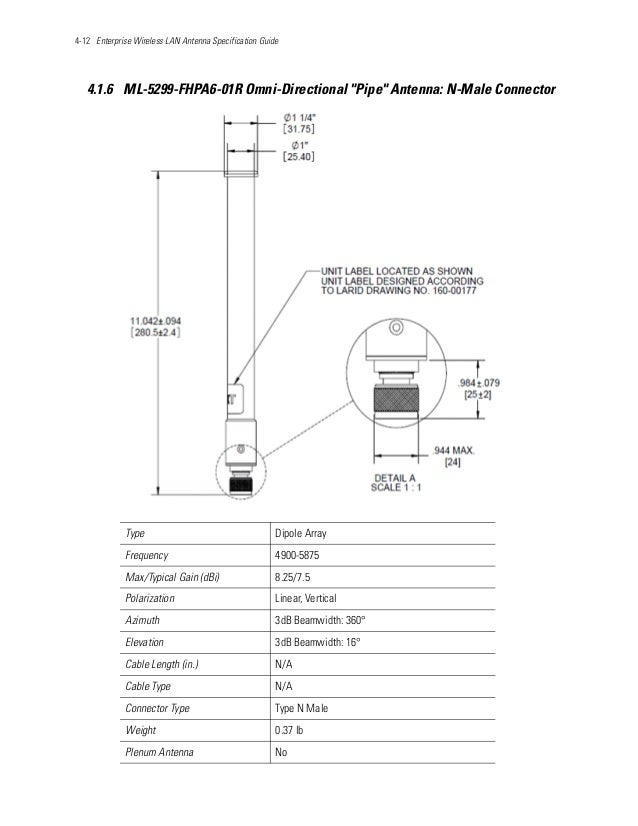 """4-12 Enterprise Wireless LAN Antenna Specification Guide 4.1.6 ML-5299-FHPA6-01R Omni-Directional """"Pipe"""" Antenna: N-Male C..."""