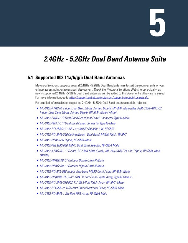 2.4GHz - 5.2GHz Dual Band Antenna Suite 5.1 Supported 802.11a/b/g/n Dual Band Antennas Motorola Solutions supports several...