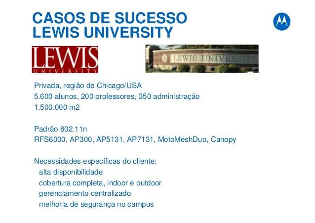 CASOS DE SUCESSO LEWIS UNIVERSITY Privada, região de Chicago/USA 5.600 alunos, 200 professores, 350 administração 1.500.00...