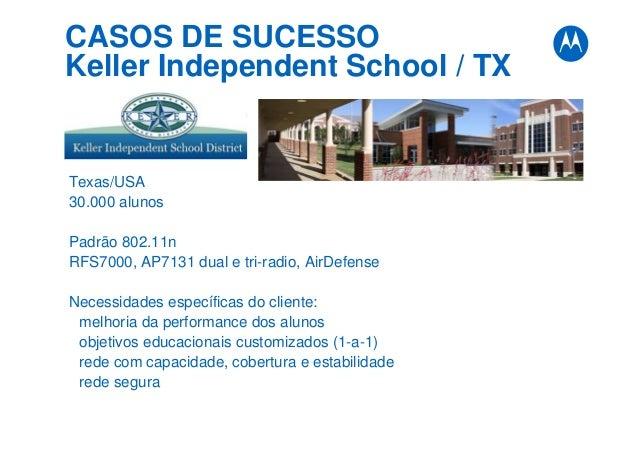 CASOS DE SUCESSO Keller Independent School / TX Texas/USA 30.000 alunos Padrão 802.11n RFS7000, AP7131 dual e tri-radio, A...
