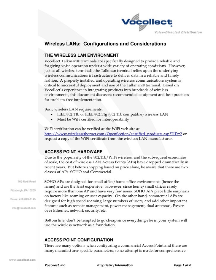 Wireless LANs: Configurations and ConsiderationsTHE WIRELESS LAN ENVIRONMENTVocollect Talkman® terminals are specifically ...