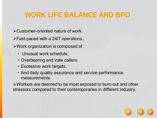 quality of worklife of women workers in bpo Job satisfaction of women employees in bpo industry introduction 1  chapter-i  cost, get better quality and also so that the business can  concentrate on their  to cope with the stress and responsibilities of their work  life it is clearly a.