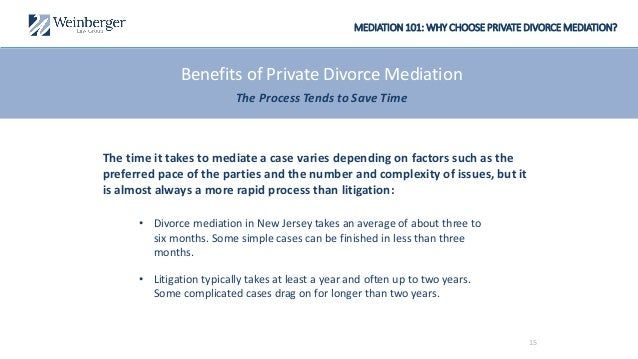 MEDIATION 101: WHY CHOOSE PRIVATE DIVORCE MEDIATION? The time it takes to mediate a case varies depending on factors such ...
