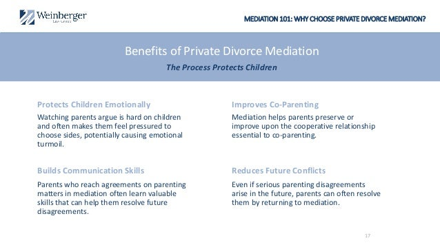 MEDIATION 101: WHY CHOOSE PRIVATE DIVORCE MEDIATION? Mediation helps parents preserve or improve upon the cooperative rela...