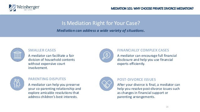MEDIATION 101: WHY CHOOSE PRIVATE DIVORCE MEDIATION? A mediator can encourage full financial disclosure and help you use f...
