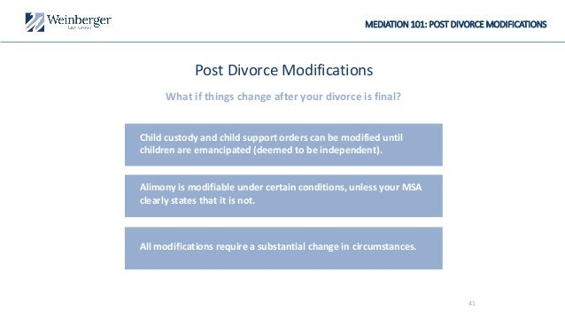 MEDIATION 101: POST DIVORCE MODIFICATIONS Post Divorce Modifications What if things change after your divorce is final? Ch...