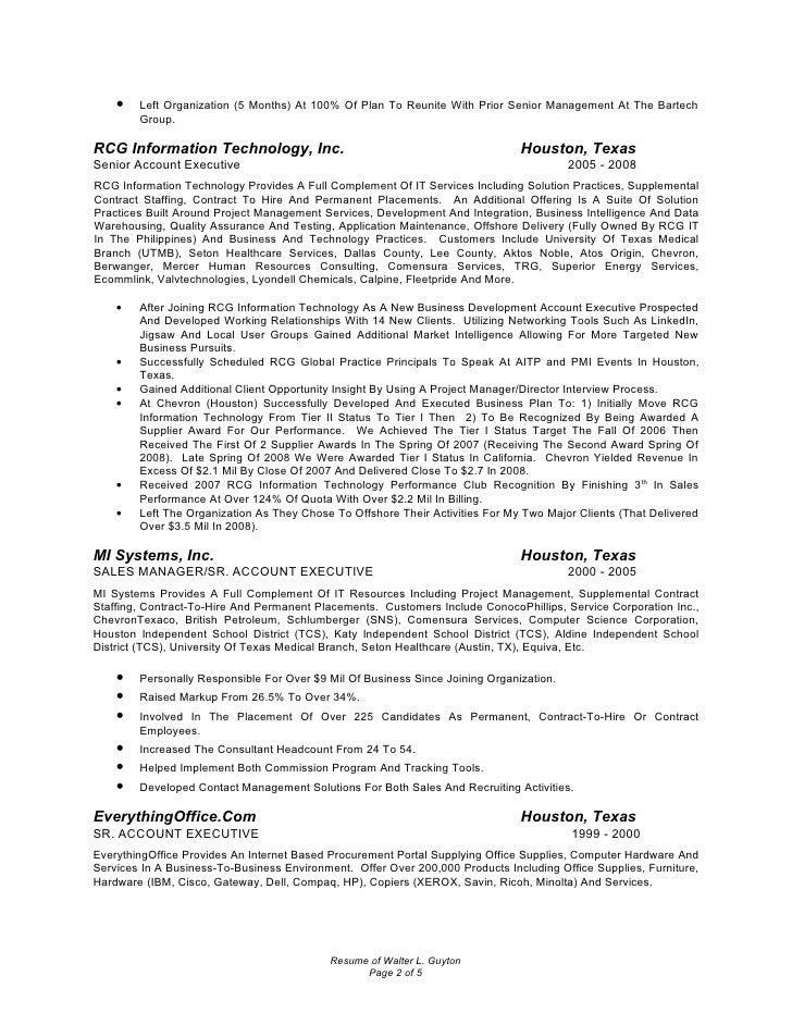 Resume Of Walter L. Guyton Page 1 Of 5; 2.  Account Manager Resume