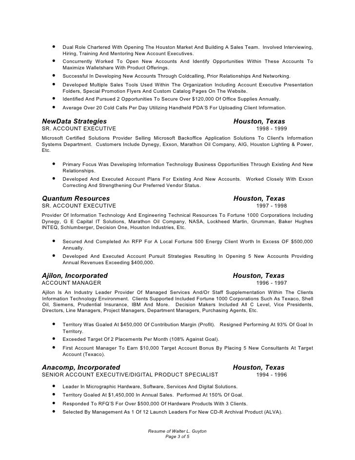 wl guyton resume 2010 with references account manager