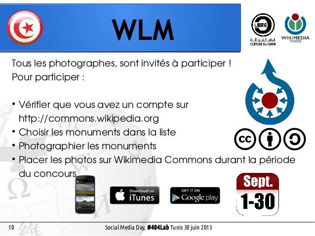 9 WLM Social Media Day, #404Lab Tunis 30 juin 2013 Pays-bas 2010Europe 2011 18 pays Mondial 2012 35 pays