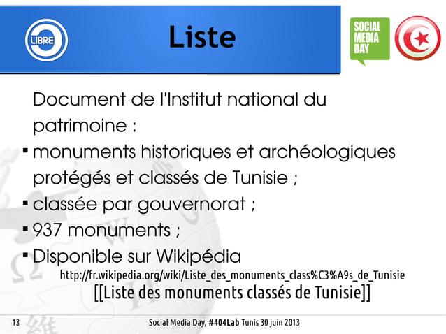 13 Liste Social Media Day, #404Lab Tunis 30 juin 2013 Document de l'Institut national du patrimoine:  monuments historiq...