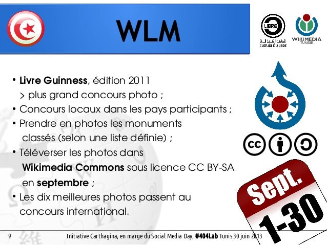 8 WLM Social Media Day, #404Lab Tunis 30 juin 2013 ● Livre Guinness, édition 2011 > plus grand concours photo; ● Concours...