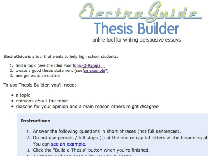 ozline.com persuasive thesis builder Gay marriage - persuasive essay - a-level sociology - marked by extracts from this document introduction gay marriage everyone dreams of one day becoming married and having a family, and.