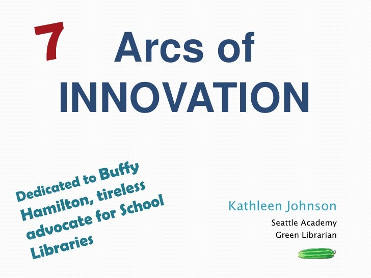 Kathleen Johnson<br />Seattle Academy<br />Green Librarian<br />7<br />Arcs of <br />INNOVATION<br />Dedicated to Buffy Ha...