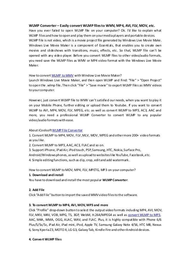 Wlmp converter – easily convert wlmp files to wmv, mp4, avi