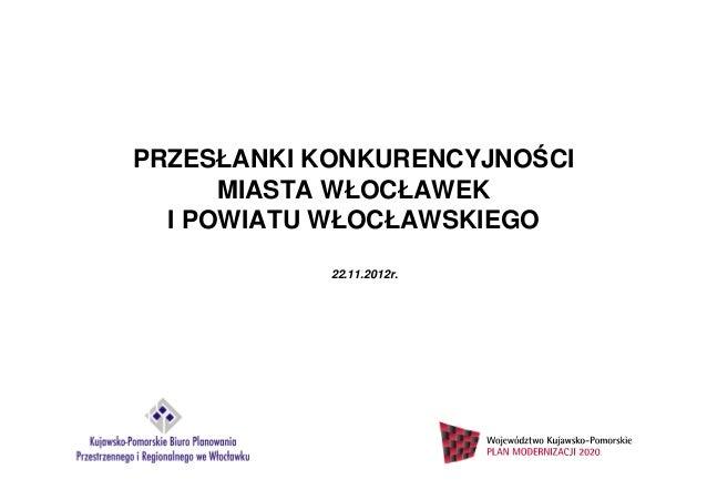 PRZESŁANKI KONKURENCYJNOŚCI      MIASTA WŁOCŁAWEK  I POWIATU WŁOCŁAWSKIEGO            22.11.2012r.