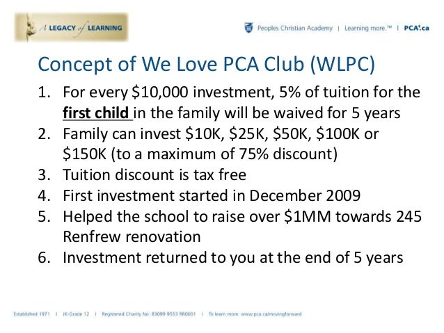 Concept of We Love PCA Club (WLPC) 1. For every $10,000 investment, 5% of tuition for the first child in the family will b...
